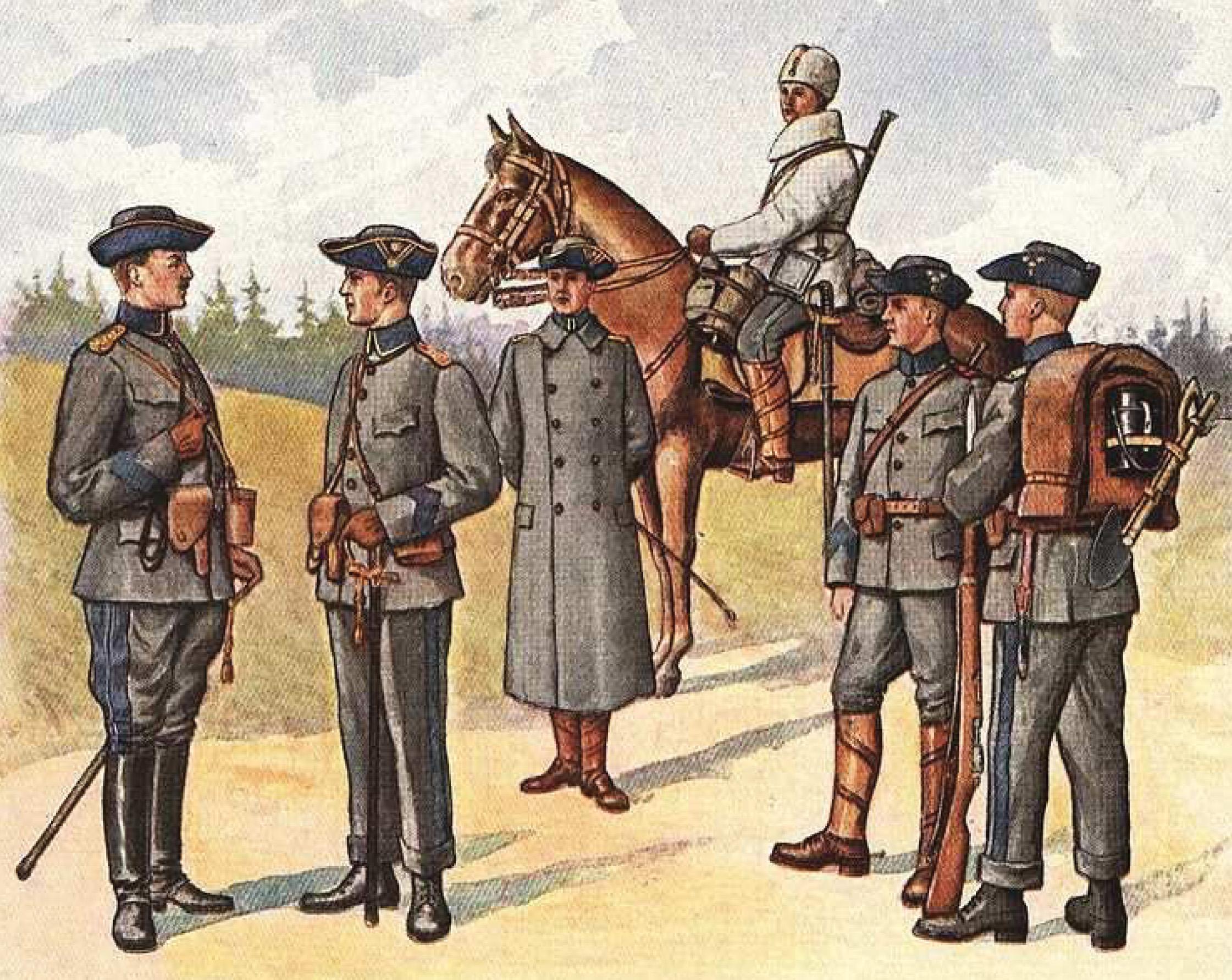 Чины шведской армии в форме обр 1910г